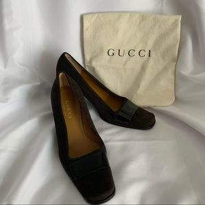 Authentic GUCCI Suede Low Heels